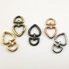 Metal Çanta Klips Kalp Model Renk Seçmeli