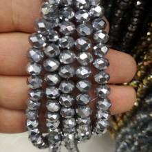 8 mm İpe Dizili Kristal Boncuk Çin Camı kaplama gümüş