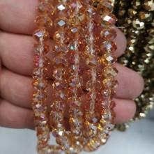 8 mm İpe Dizili Kristal Boncuk Çin Camı janjan koyu sarı