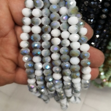 8 mm İpe Dizili Kristal Boncuk Çin Camı beyaz gri