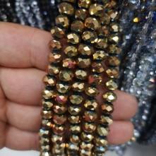 8mm dizili kristal çin camı Kaplama janjan Gold