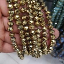 8mm ipe dizili Kristal Boncuk Çin Camı kaplama gold