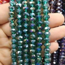 8 mm ipe dizili kristal boncuk çin camı janjan petrol yeşili
