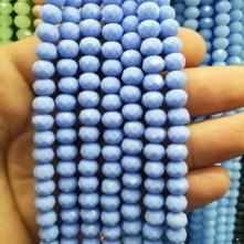8 mm İpe Dizili kristal boncuk çin camı Mat Boncuk mat bebe mavi
