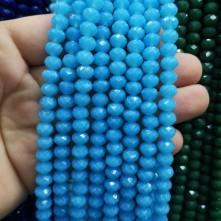 8 mm İpe Dizili kristal boncuk çin camı Mat koyu buzlu mavi