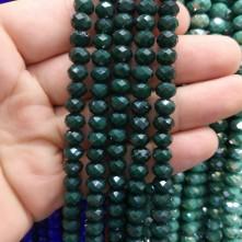 8 mm İpe Dizili kristal boncuk çin camı Mat koyu yeşil