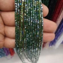 2 mm ipe dizili Kristal Boncuk - janjan koyu yeşil
