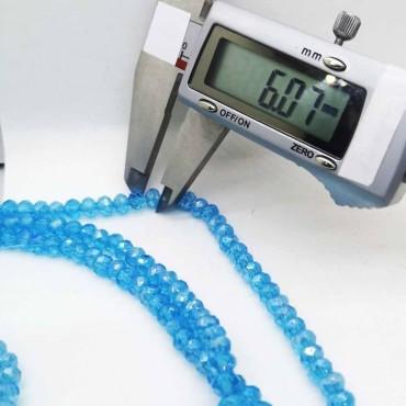 6 mm İpe Dizili Kristal Boncuk Çin Camı Mat Buz Mavi
