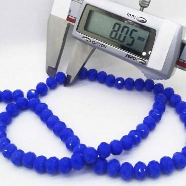 8 mm  İpe Dizili Kristal Boncuk Çin Camı janjan mavi