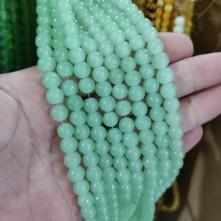 8mm İpe Dizli Cam Boncuk buzlu Mint yeşil