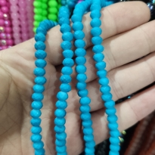 6 mm İpe Dizli Cam Boncuk Mumlu Neon Açık Mavi