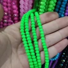 6 mm İpe Dizli Cam Boncuk Mumlu Neon Yeşil