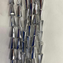 8*16 mm Deve Tabanı Damla Kristal Aynalı Gümüş