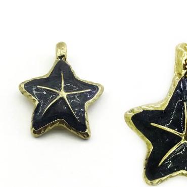 Mineli Siyah Yıldız - Kolye Küpe Uçları