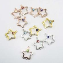 Yıldız model Taşlı Çift kulplu nazar boncuk bileklik kolye aparatı