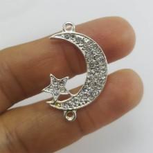 Ay yıldız çift kulplu zirkon taş görünümlü bileklik ve kolye aparatı