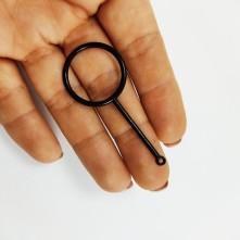 Yuvarlak Ayna Küçük Model Siyah Reçine Metal Kolye Ucu