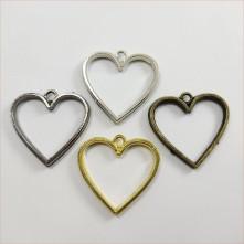 Kalp Model Tek Kulplu Reçine Metal Kolye Ucu Renk Seçmeli