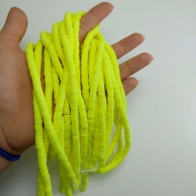 Fimo Hamur Silindir Bileklik Takı Boncuğu - Limon Sarı