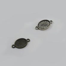 Metal Kolye Ucu - Gümüş Çift Kulplu Daire