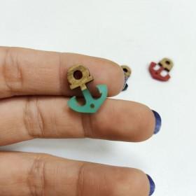 Ahşap ve epoksi görünümlü kolye küpe ucu - Çapa 2