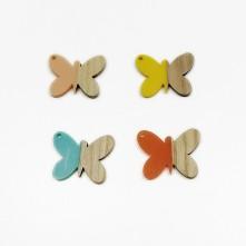 Ahşap ve epoksi görünümlü kolye küpe ucu - Kelebek
