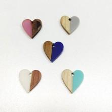 Ahşap ve epoksi görünümlü kolye küpe ucu - Kalp