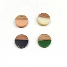 Ahşap ve epoksi görünümlü kolye küpe ucu - Yuvarlak - Küçük