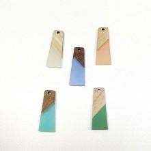 Ahşap ve epoksi görünümlü kolye küpe ucu - Renk Seçmeli