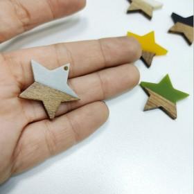 Ahşap ve epoksi görünümlü kolye küpe ucu - Yıldız