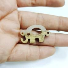 Ahşap ve epoksi görünümlü kolye küpe ucu - Fil Figürü