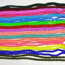 6 mm mat İpe Dizli Cam boncuk - Renk Seçmeli