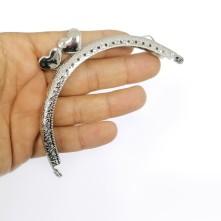 Metal Çanta Sapı 11 cm Oval Nikel Kalpli