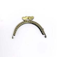 Metal Çanta Sapı 9 cm Oval Antik Yeşil Kalpli