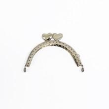 Metal Çanta Sapı 9 cm Oval Nikel Kalpli