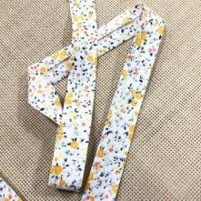 Toptan Desenli Koton Biye - 2 Cm Sarı Çıtır Çiçekler