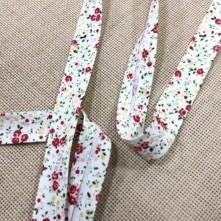 Toptan Desenli Koton Biye - 3 Cm Kırmızı Çıtır Çiçekler