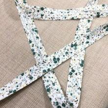 Toptan Desenli Koton Biye - 3 Cm Yeşil Çıtır Çiçekler