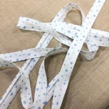 Toptan Desenli Biye - 2 Cm Mavi Yıdızlar Koton Biye