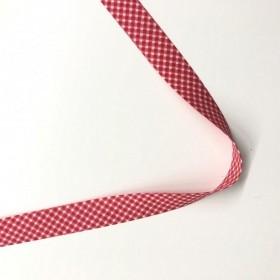 Toptan Ekose Biye - 2 Cm Kırmızı Koton Biye