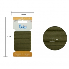 6 mm Haki Yassı Lastik - 5 Metre