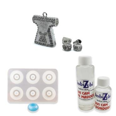 Reçine Epoksi Tesbih Seti - Kristal Taşlı 8mm Boncuk Kalıbı