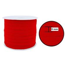 1250 Metre - 15 mm Kırmızı Yassı Lastik