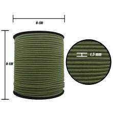 2500 Metre - 1.5 mm Haki Şapka Lastik - Yuvarlak Lastik