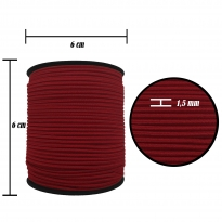 1.5 mm Bordo Yassı Lastik - 100 Metre