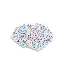 Beyaz Yuvarlak İçi Kalp Boncuk - 50 Gr