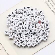 Beyaz Zar Plastik Sayı Boncuk - 50 Gr