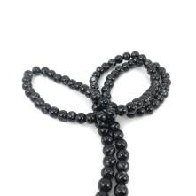8mm İpe Dizli Cam boncuk - Siyah