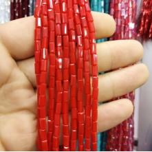 İpe Dizili Baget Kristal Boncuk 3x6 mm çin camı mat açık kırmızı