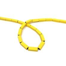 Dikdörtgen Varasit Taşlı Boncuk - Sarı
